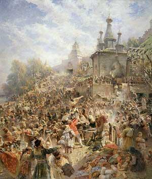 Минин на площади Нижнего Новгорода, призывающий народ к пожертвованиям. К. Е. Маковский (1839—1915)