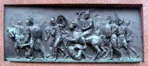 Победа народного оплочения над поляками. Горельеф с памятника Минину и Пожарскому.